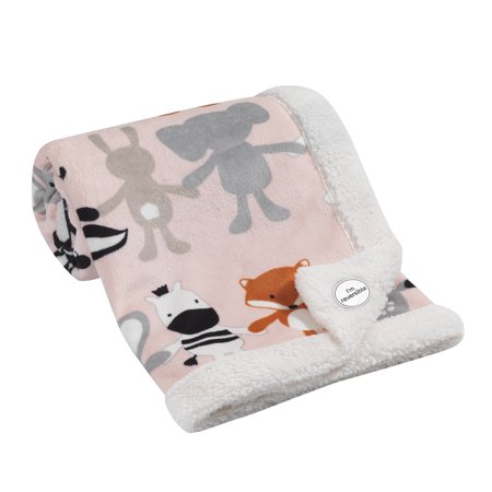 Lambs & Ivy Pink Velour Elephant & Animals Baby Blanket with Sherpa Back - Pink Elephant Baby