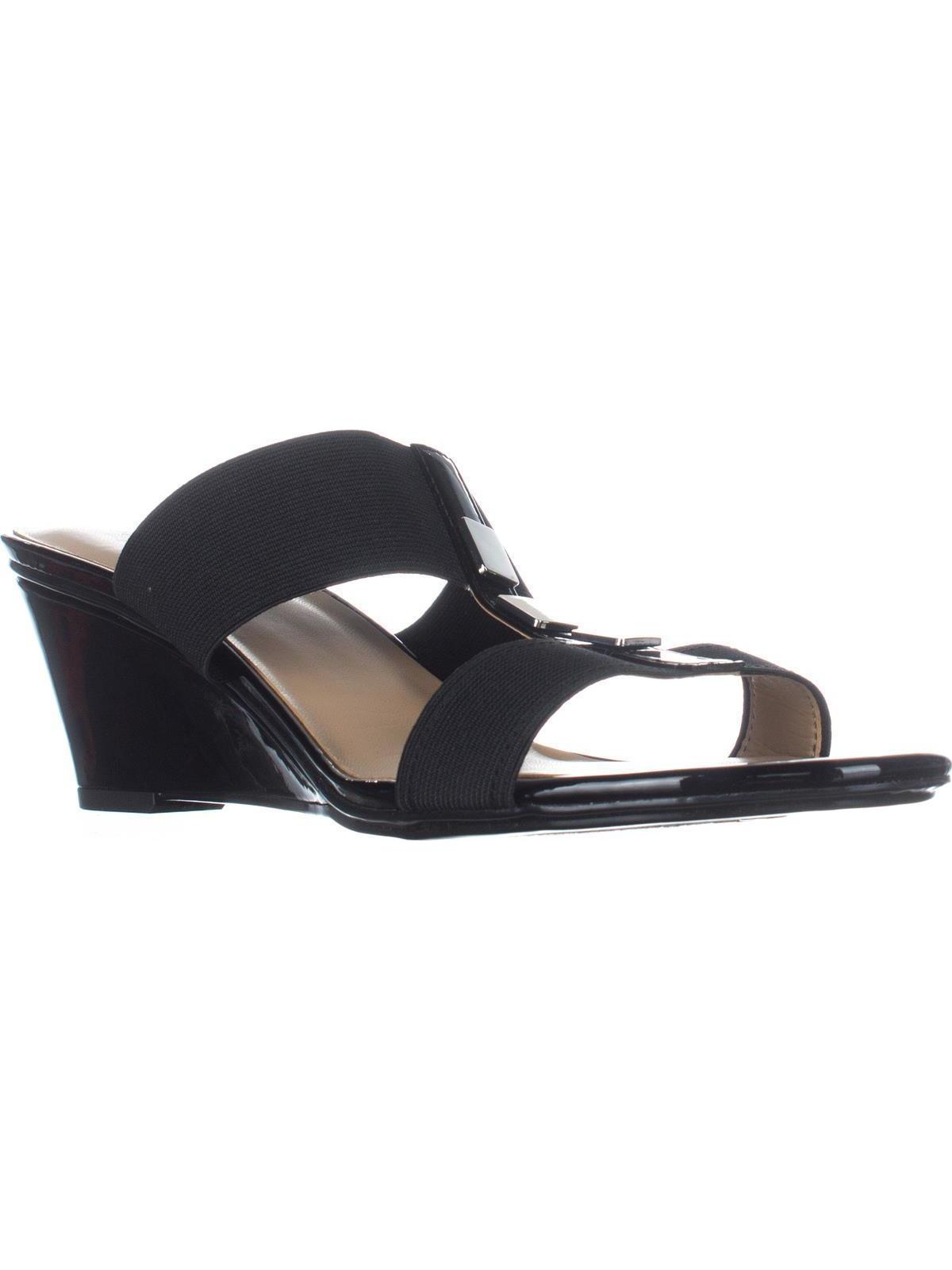 Womens Naturalizer Hayden T-Strap Wedge Sandals, Black by Naturalizer