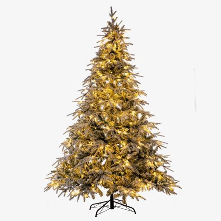 GOOD LIFE Christmas Tree PE PVC Mixed 7FT 1100 Tips with 400 LED Lights Premium Hinged Deluxe Artificial Fir Flocked Snow White ()