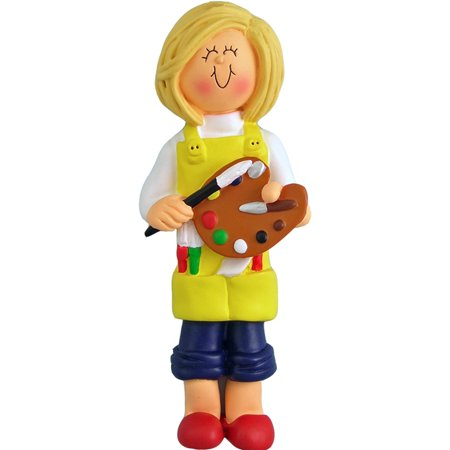 Artist Female Blonde Personalized  Christmas Ornament DO-IT-YOURSELF