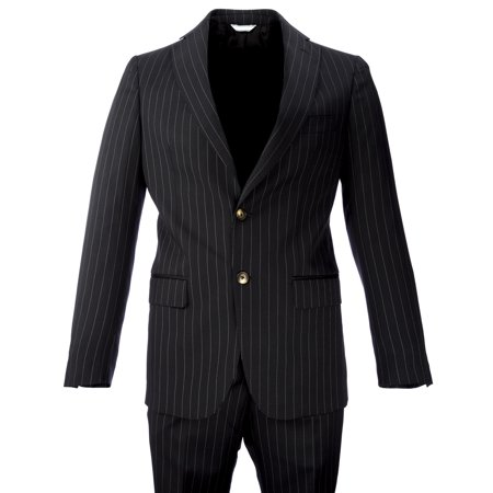 Pinstripe 2 Button Suit - Krizia Uomo Two-Piece Wool Blend Pinstripe Suit IT 46 Black and White
