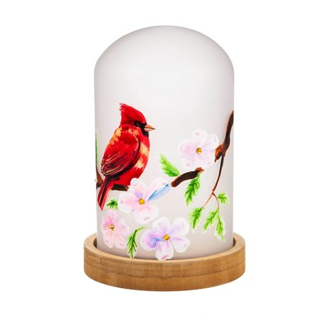 Beaded Cloche - Cypress Home 8LED290 Cardinal LED Glass Cloche with Wooden Base