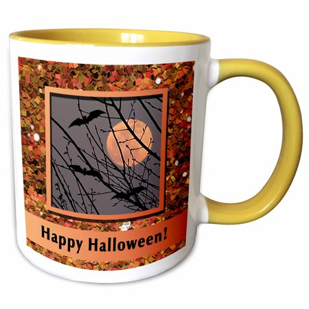 Happy Halloween Please Take Two (3dRose Bats Flying Around Harvest Moon in Glitter Look Frame, Happy Halloween - Two Tone Yellow Mug,)