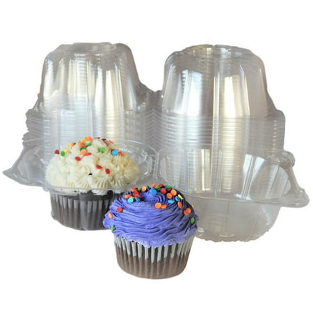 100Pcs Mini Cat Head Cupcake Container Individual Plastic Cupcake Boxes Single Clear Plastic Cupcake Muffin Box - Single Cupcake Boxes