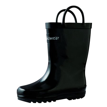 Oakiwear Kids Rain Boots For Boys Girls Toddlers Children, Jet Black - Kids Harley Boots