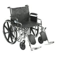 "Drive Medical Sentra EC Heavy Duty Wheelchair, Detachable Desk Arms, Elevating Leg Rests, 22"" Seat"