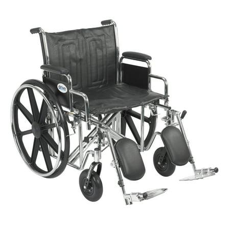 Drive Medical Sentra EC Heavy Duty Wheelchair, Detachable Desk Arms, Elevating Leg Rests, 22