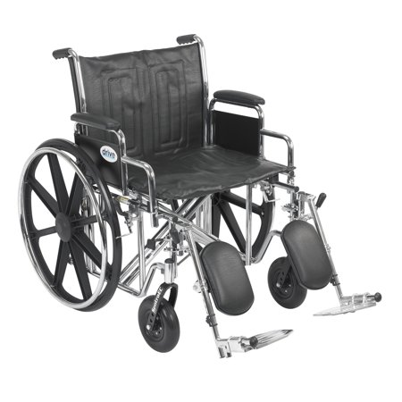 Drive Medical Sentra EC Heavy Duty Wheelchair, Detachable Desk Arms, Elevating Leg Rests, 22