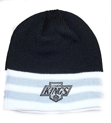 NHL Officially Licensed LA Kings Embroidered Logo Team Name Stripe Style Beanie Hat Cap Lid Toque