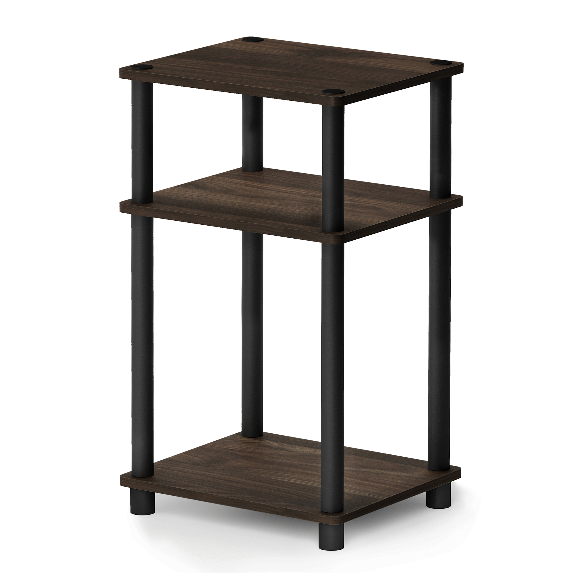 Furinno Just 3-Tier Turn-N-Tube End Table, Columbia Walnut/Brown