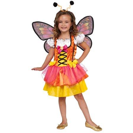 Glittery Orange Butterfly Girls Mystical Fairy Halloween Costume (Halloween Dead Fairy Makeup)