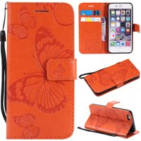 iPhone 6 Plus/ 6S Plus Wallet case, Allytech Pretty Retro Embossed Butterfly Flower Design PU Leather Book Style Wallet Flip Case Cover for Apple iPhone 6 Plus and iPhone 6S Plus, Rosegold