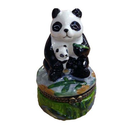 Porcelain Panda Bear Holding Cub Hinged Lid Trinket Box with Tiny Trinket Inside, By ArtGifts, 3