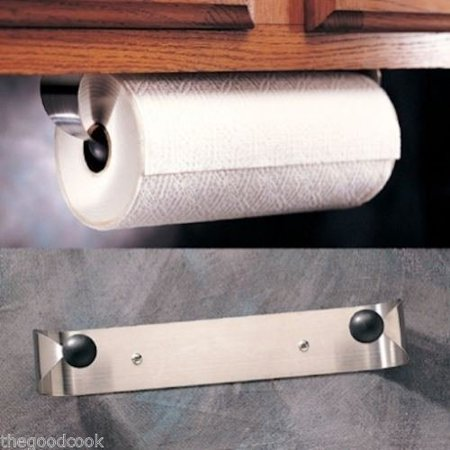 Prodyne Stainless Steel Under Cabinet Paper Towel Holder Rack Wall