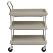 "HUBERT Utility Cart With 3 Deep Shelves Grey Plastic - 8 3/4""L x 27""W x 41""H"