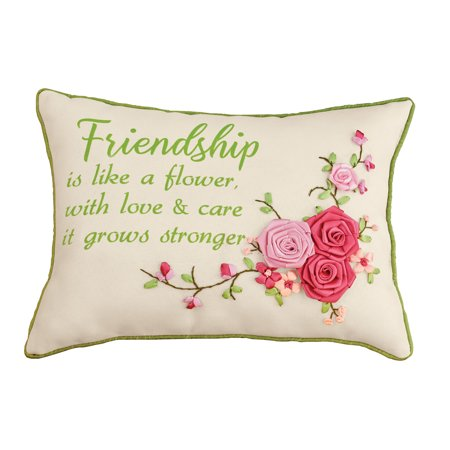 3D Rose Sentimental Friendship Accent Pillow with Green Piping Border - Gift Idea for