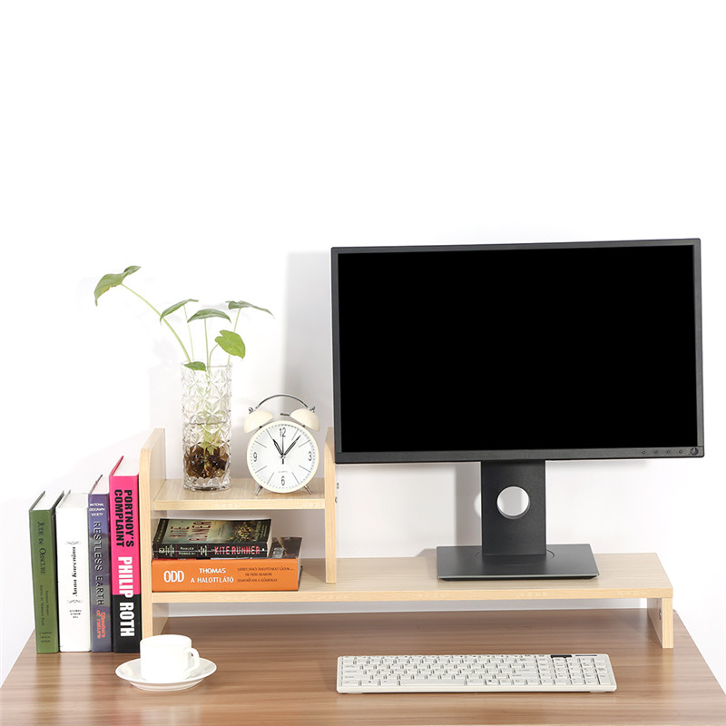 Computer Monitor Riser Shelf,Wooden Monitor Riser Stand Home Office,Oak Color