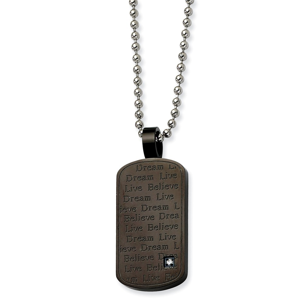 Stainless Steel Black PVD w/ CZ Pendant 24 in. Necklace. 24in long.