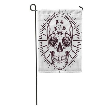 Cross Tattoo With Banner (KDAGR Tattoo Sugar Skull Crest Zombie Cross Death Skeleton Evil Music Garden Flag Decorative Flag House Banner 28x40)