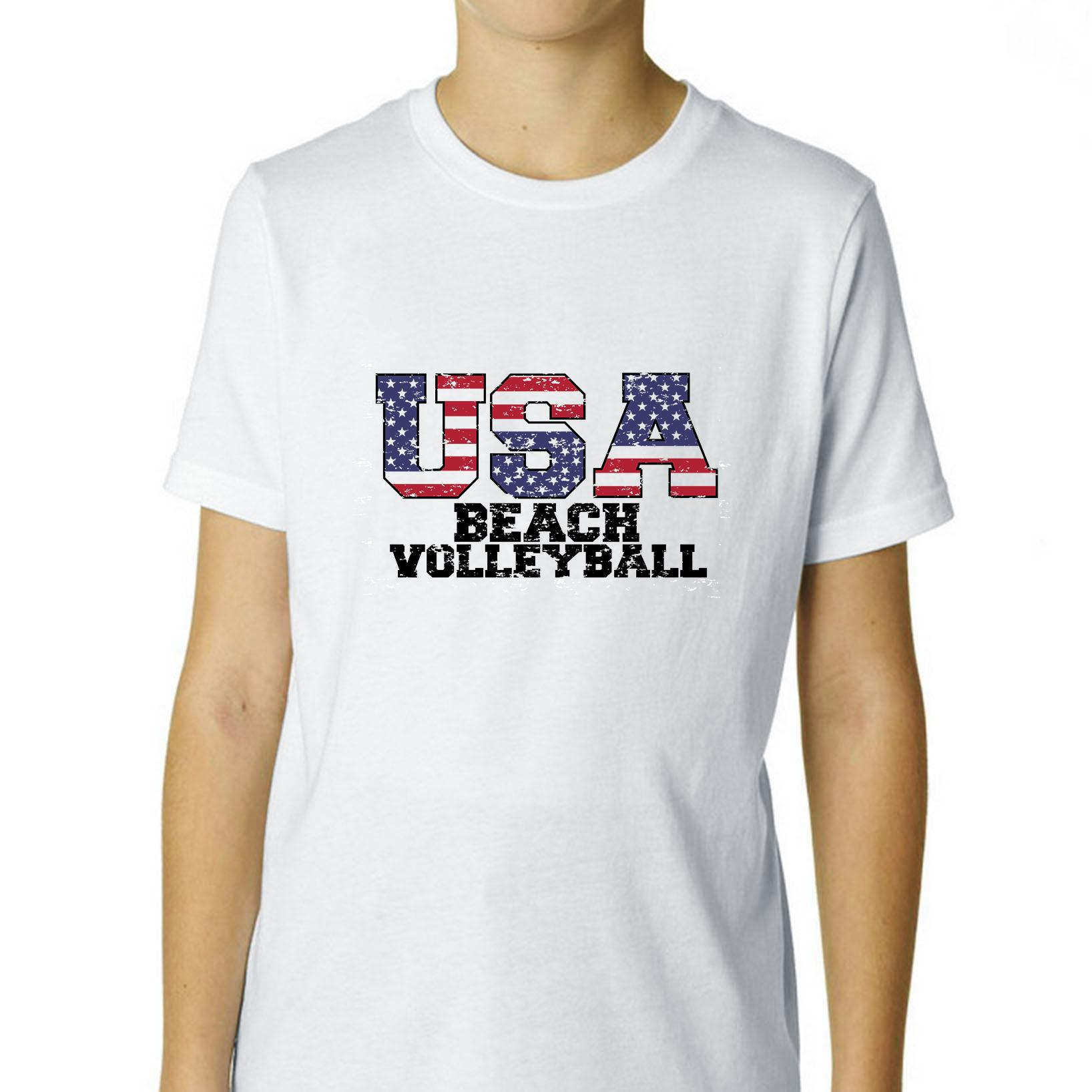 USA Olympics - Beach Volleyball - Vintage Letters Boy's Cotton Youth T-Shirt