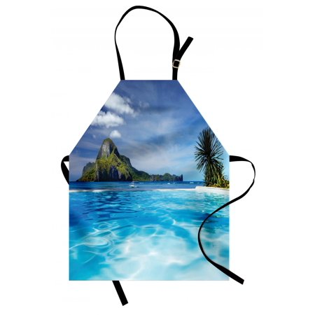 Landscape Apron Landscape with Swimming Pool and Distant Island Tropic Exotic Hawaiian Theme, Unisex Kitchen Bib Apron with Adjustable Neck for Cooking Baking Gardening, Turquoise Green, by Ambesonne (Hawaiian Themed Decorating Ideas)