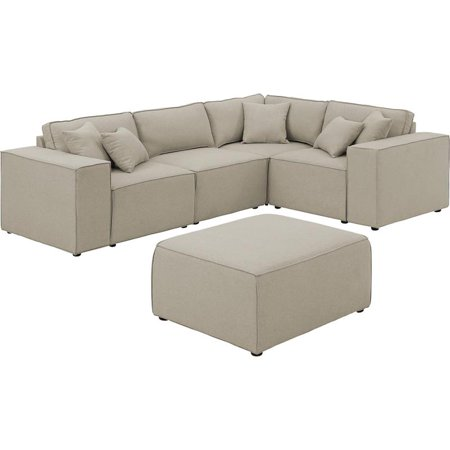 LILOLA Melrose Modular Sectional Sofa with Ottoman in Beige