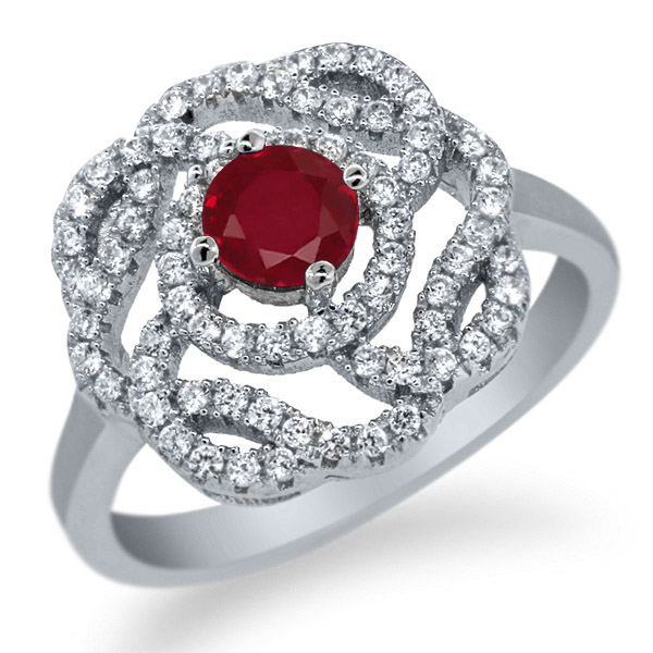 1.59 Ct Round Red Ruby 925 Sterling Silver Ring