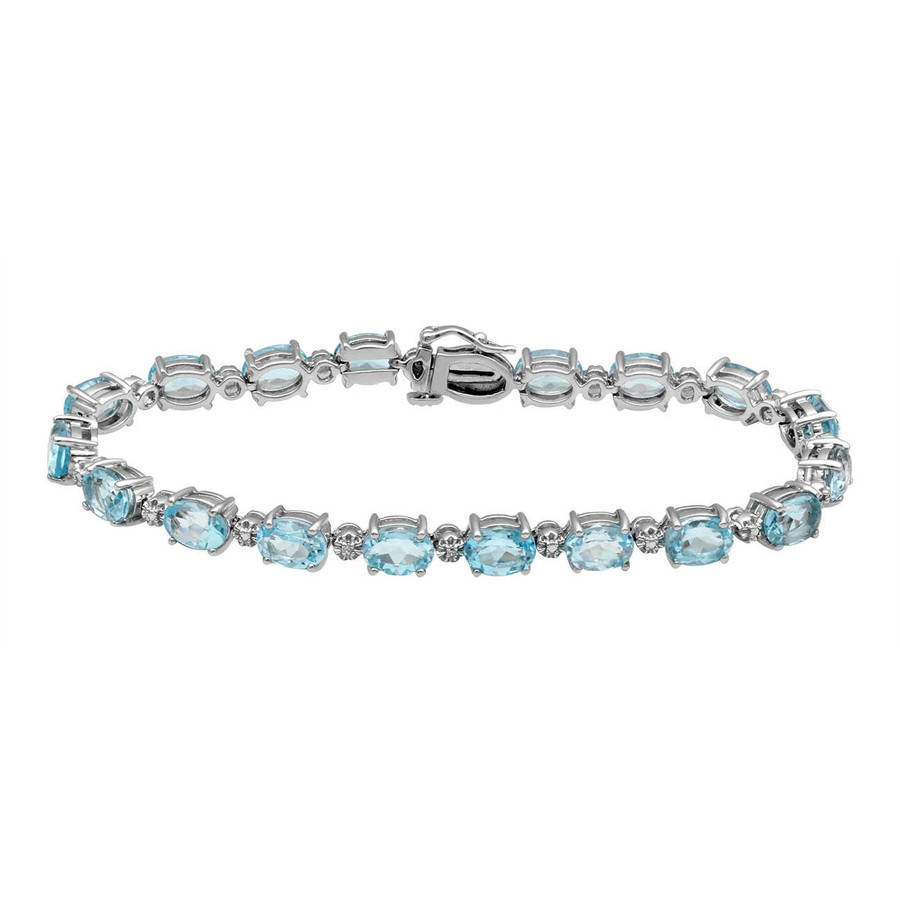 Genuine Sky Blue Topaz and White Cubic Zirconia Sterling Silver Tennis Bracelet by Generic