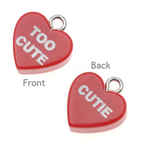 Red Acrylic Valentine's Candy Heart Charm Two Sided 'Too Cute / Cutie' (1)