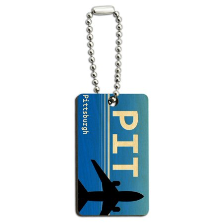 Pittsburgh PA (PIT) Airport Code Wood Rectangle Key Chain - Discount Key Codes