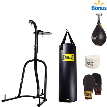 Everlast Dual Station Heavy Bag Stand with 100-lb. Kit and Speedbag Value (Best Boxing Bag Stand)