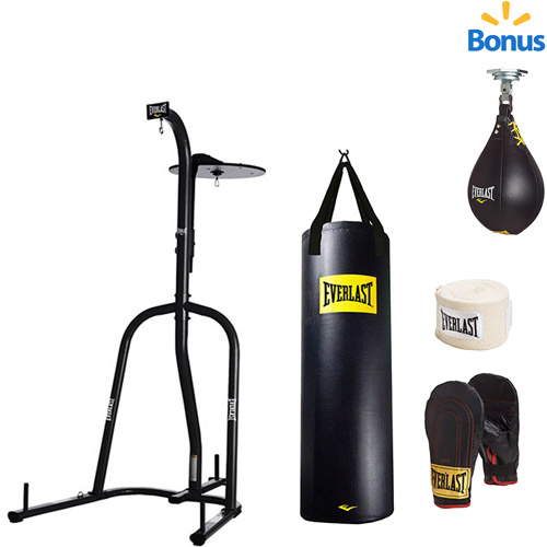 Everlast Dual Station Heavy Bag Stand with 100-lb. Kit and Speedbag Value Bundle
