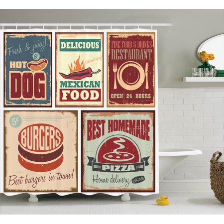 1950S Decor Shower Curtain Set, Nostalgic Tin Signs And Retro Mexican Food Prints Aged Advirtising Logo Style Artistic Design, Bathroom Accessories, 69W X 70L Inches, By Ambesonne