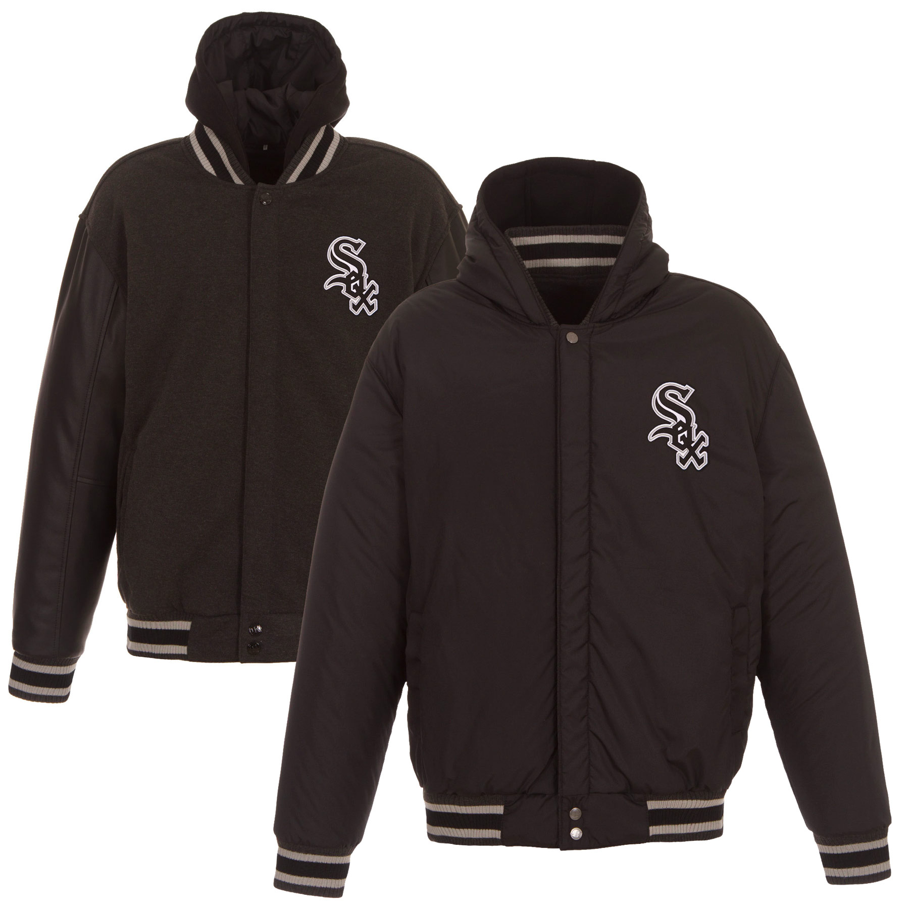 Chicago White Sox JH Design Heavyweight Reversible Full Snap Hoodie - Charcoal