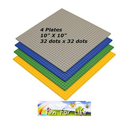 Lego Compatible Brick Building Base 10 X 10 Green  Grey  Orange  And Blue 4 Baseplates In A Set By Brand Fun For Life