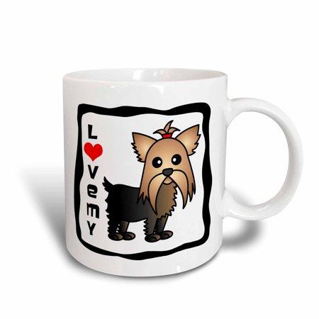 3dRose I Love My Yorkshire Terrier  Yorkie, Ceramic Mug, 11-ounce