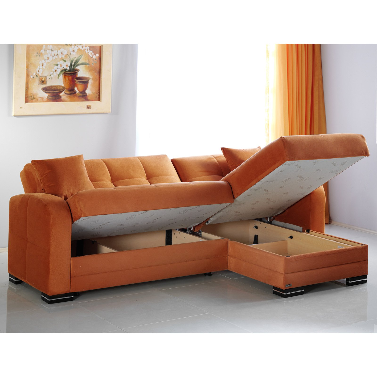 Istikbal Kubo Rainbow Orange Microfiber Sectional Sofa Walmart