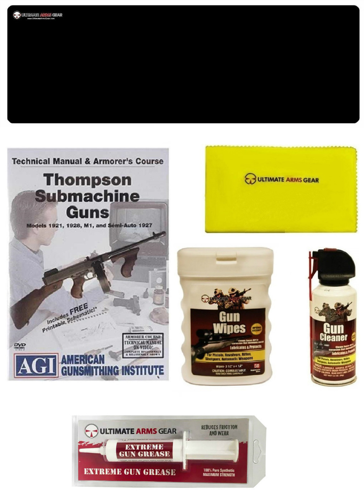 AmeriGunsmithing Institute DVD Manual Course Thompson Submachine Gun + Ultimate Arms Gear Gunsmith Cleaning Gun Mat +... by
