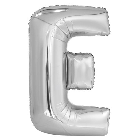 Foil Big Letter Balloon, E, 34 in, Silver, 1ct