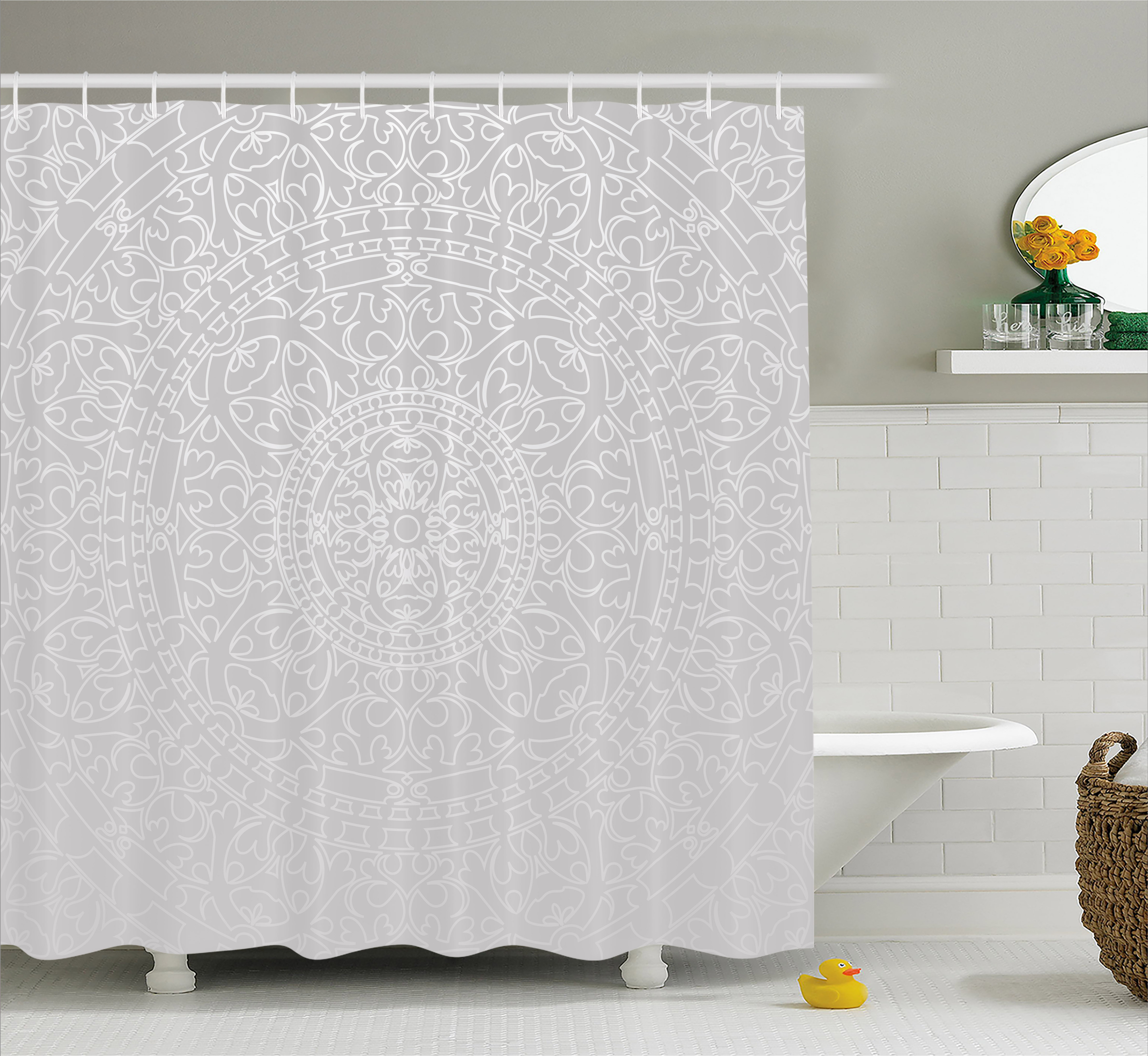 Grey and White Shower Curtain, Oriental Ornamental Traditional Arabesque Moroccan Islamic Ethnic Authentic Design, Fabric Bathroom Set with Hooks, 69W X 70L Inches, Grey, by Ambesonne