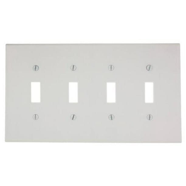 Leviton 80512 W White Midway Four Gang Toggle Light Switch Wall Plate Walmart Com Walmart Com