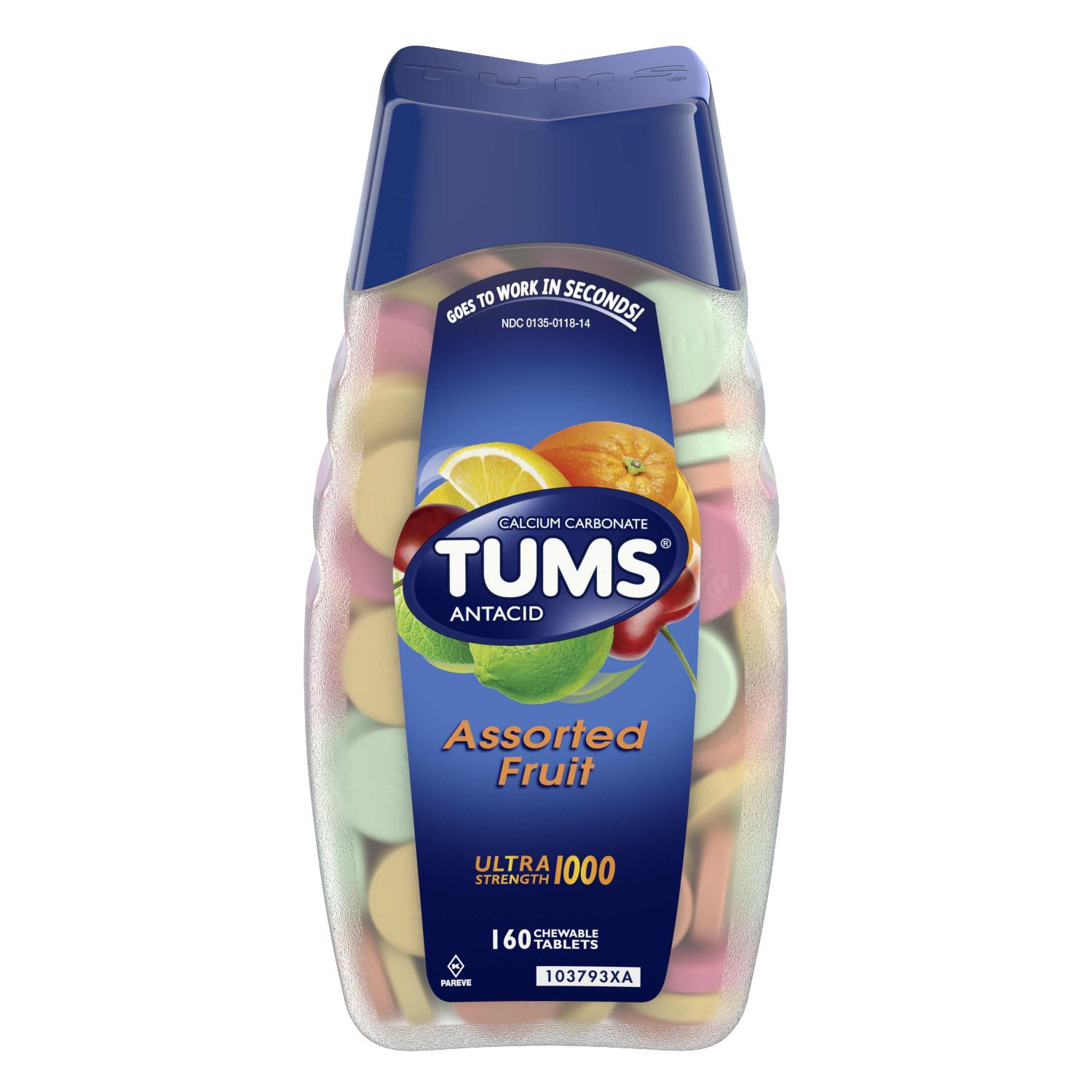 TUMS Antacid Chewable Tablets for Heartburn Relief, Ultra Strength, Assorted Fruit, 160 Tablets