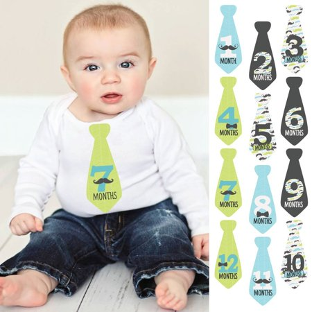 Dashing Little Man Mustache - Tie Baby Boy Monthly Stickers - Baby Shower Gift Ideas - Necktie 12 Piece - Mustache Centerpiece Ideas
