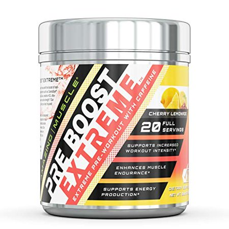 Amazing Muscle Pre Boost Extreme- Pre-Workout with Caffeine (Cherry Lemonade) - 400 g (14.11 oz) - Supports Increased Workout Intensity - Enhance Muscle Endurance - Supports Energy