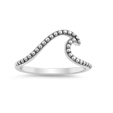 Oxidized Wave Design Ring - Oxidized Sterling Silver Beaded Wave Design Ring