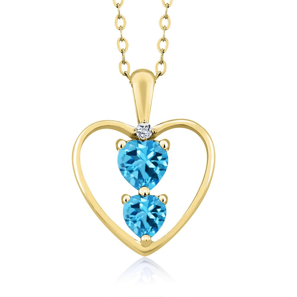 0.90 Ct Heart Shape Swiss Blue Topaz 18K Yellow Gold Plated Pendant