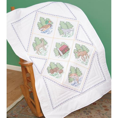 "Stamped White Lap Quilt Top 38""X58""-Great Outdoors"