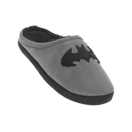 Mens Gray Batman Slippers Bat Man Scuffs House Shoes X Large