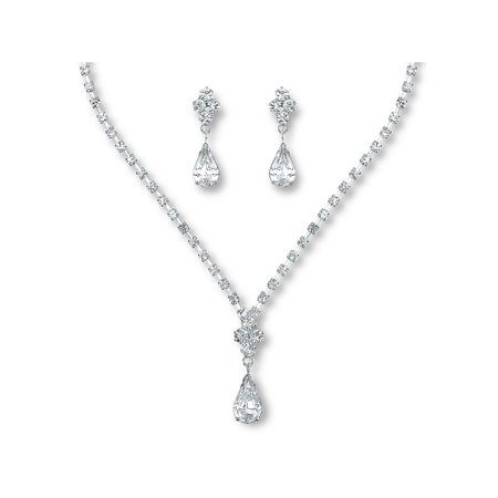 Glamour Goddess Jewelry NS677CS - Bridal Jewelry Set Rhinestone Classic Drop Necklace With Earrings Silver Plated