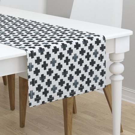 Table Runner Modern Swiss Cross Watercolor X Black White Cotton Sateen